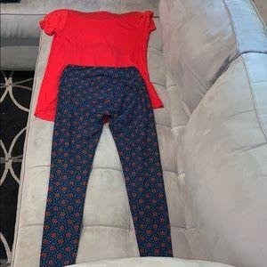 EUC!! LuLaRoe XS shirt and leggings